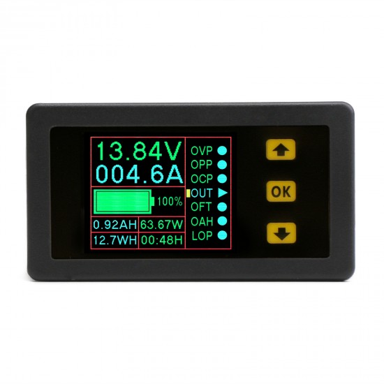 7-in-1 Bidirectional Volt Amp Meter DC 0-90V 300A Voltage Current Battery Capacity Amp-Hour Watt-Hour Power Time Monitor Tester