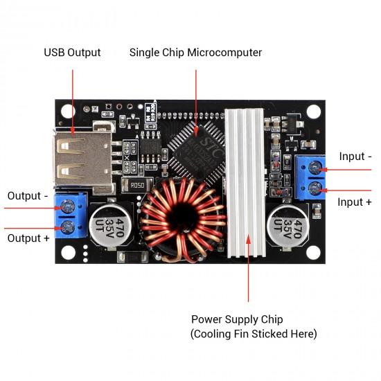 Digital Buck Boost Voltage Regulator DC 6-30V to DC 0.5-30V 5V 12V 24V Adjustable Voltage Converter with USB Port Case LCD Display
